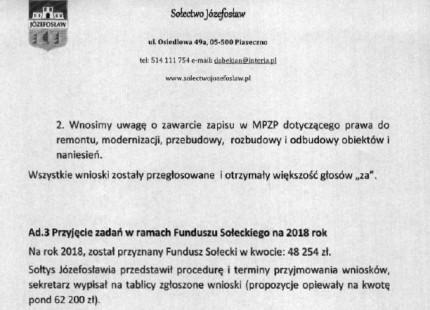 Fundusz sołecki Józefosławia