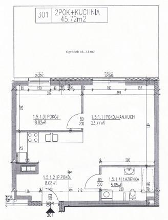 Mieszkanie z ogródkiem 45 m2+31m2 zadbane, niebanalne - Plan 301.jpg